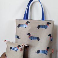 Teckel marine shopper + etui